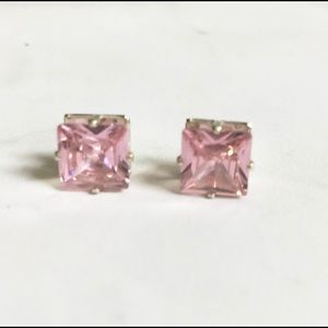 Jewelry - Light pink gem square earrings silver tone setting